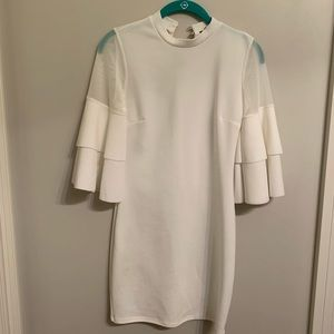 White Flutter Sleeve Form-Fitting Dress | Brides